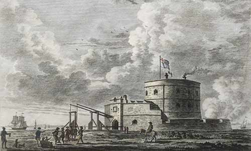 Calshot Castle shown on a 1780 print by Paul Sandby