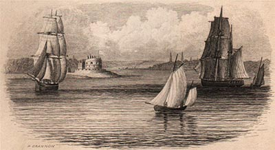 A distant view of Calshot Castle depicted on an 1853 print by Brannon