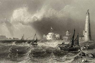 A view of Hurst Castle in 1840 showing two lighthouses