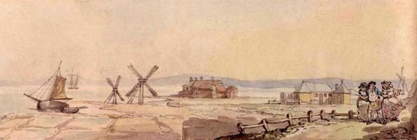 A 1784 drawing by Thomas Rowlandson showing the Lymington Sea Water Baths, and saltern wind pumps and pans