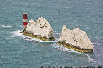The Needles, off the tip of the Isle of Wight, opposite Hurst Castle - over the years, the site of numerous shipwrecks
