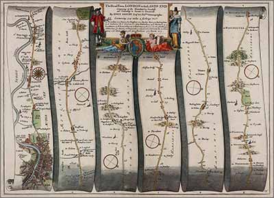 Detailed maps were not available to help intrepid 17th century travellers, such as Celia Fiennes. Here, for example, is a section of John Ogilby's road map of Britain dating from around 1670.