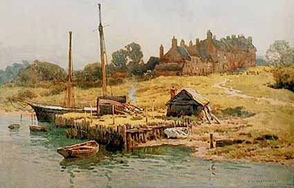 Buckler's Hard - a charming watercolour by E.W. Haslehurst (1866-1949)