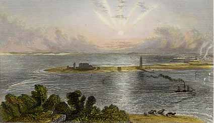 Hurst Castle viewed from 'the Island' - from Mudie's Hampshire Past and Present (1839)