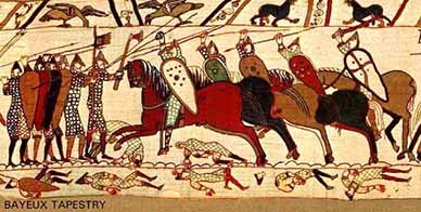 A section of the Bayeux Tapestry depicting the Battle of Hastings