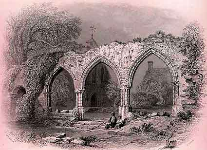 Beaulieu Abbey ruins shown in a 19th century print