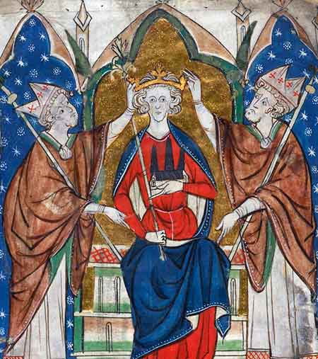 The coronation of King John's son, King Henry III (by an anonymous 13th century artist)