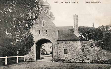 The Outer Gatehouse, described on this old postcard as the Clock Tower - the clock was a later addition that in 1885 was moved from the front of the building to the tower
