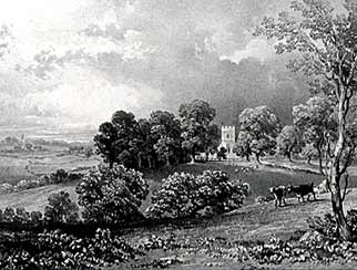 Boldre parish church and the surrounding landscape, shown in an 1832 print