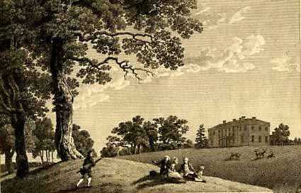 Brockenhurst Park and House shown in an 18th century print