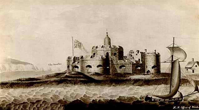 Hurst Castle shown on a print dating back to 1809. Details of the castle differ slightly when compared to the previous print, but the building on the right is substantially changed. Artist's license!