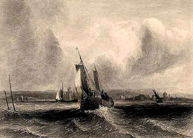 Although titled 'Hurst Castle, Lymington River', this 1834 print shows shipping close to Hurst Spit, where there is a tantalising glimpse of the spit settlement