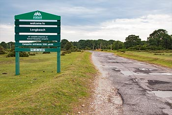 The entrance to Longbeech campsite still uses an old airfield access road