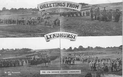 The 17th Division leaving Lyndhurst en-route to the First World War battlefields, as shown on a contemporary postcard